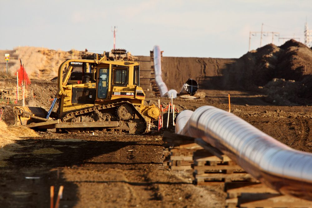 Machinery and pipes laid out for Natural Gas Pipeline